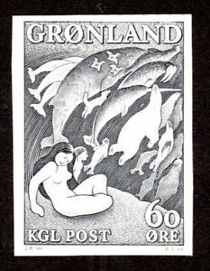 GREENLAND 1957 STEEL ENGRAVED PROOF MOTHER OF THE SEA SC #43, FACIT #39 MNH
