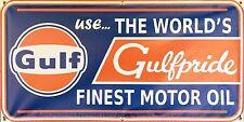 GULFPRIDE MOTOR OIL VINTAGE SIGN OLD SCHOOL REMAKE BANNER SHOP GARAGE ART 2 X 4