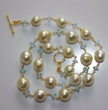 Necklace SOUTH SEA BAROQUE PEARLS Sky Blue TOPAZ 24K Gold Vermeil on 925 Silver