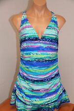 New Beach Diva Swimsuit One 1 Piece size 16 attached Dress Teal