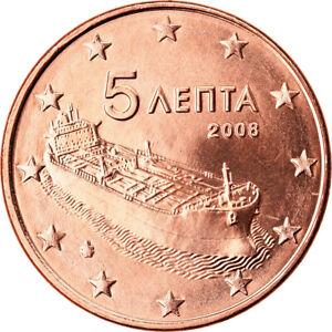 [#791487] Grèce, 5 Euro Cent, 2008, SPL, Copper Plated Steel, KM:183