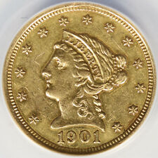 1901 $2.5 Liberty Gold Quarter Eagle ANACS AU50 Details Mount Removed Cleaned