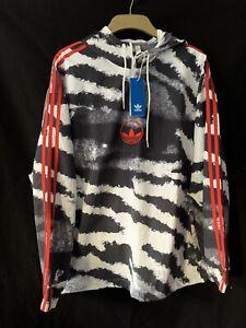 Adidas Zebra Anorak Jacket Windbreaker Black White Red Men M