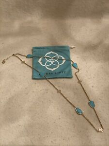 Kendra Scott Kinley Turquoise long Necklace gold tone