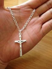 "Real sterling silver .925 Cross pendant with 20"" necklace made in Italy"