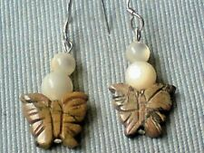 STERLING SILVER & MOTHER OF PEARL & AGATE BUTTERFLY 10mm DROP EARRINGS £8.50 NWT