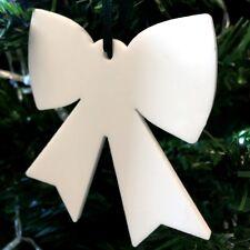 blanc nœud en forme de décorations ARBRE DE NOËL, & satin vert ruban, Paquet 10