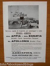 1965 TRAGHETTO ITALIA GRECIA APPIA EGNATIA APOLLONIA NAVE PASSEGGERI FERRY BOAT