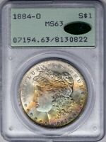 1884-O Morgan PCGS MS63 Rainbow Color-Toned Silver Dollar, OGH Rattler!