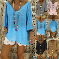 Women V Neck Boho Beach Cover Tops Ladies Vintage Hippie Baggy Blouse T-Shirt
