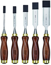 5 Piece- IRWIN Marples Beveled Wood Chisel Set + Leather Case- NEW