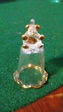 Bear Hand Blown Glass Thimble Crystal & Gold Figurine