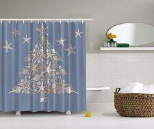Blue White Seashell Beach Christmas Holiday Tree Fabric Shower Curtain