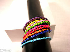 """ten individual bracelets braided Leather 8"""" PLUS chain ten diff colors FREE SHIP"""