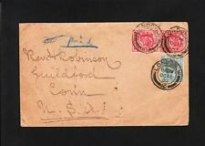 Great Britain London 1902 2x1p 1x1/2p Manuscript Auxiliary Not Paid Guilford z85