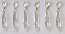 6 Kristall Eiszapfen 76mm + Octagon Lüster Kronleuchter Prismen Kristall Lüster