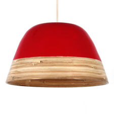Tropez Modern Red High Gloss Bamboo Coolie Pendant Light Shade