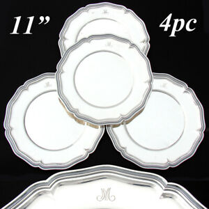 """Swiss Hallmarked Solid Silver 4pc 11"""" Tray, Plate or Charger Set, """"M"""" Monograms"""