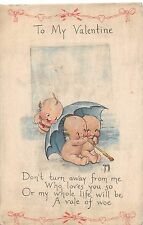 B73/ Kewpie Rose O'Neill Artist Signed Postcard c1915 Valentine's Day Umbrella 5