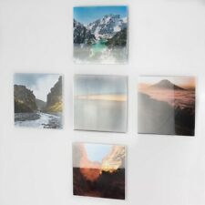 5 x Self Adhesive Acrylic Square Photo Pockets - Wall Mounted - Picture Display