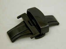 BLACK 22MM Deployment Buckle Double Clasp POLISHED Stainless Steel