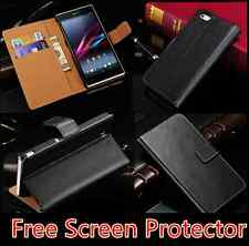 Premium Leather Stand Flip Wallet Case For Huawei Honor 7 + Free Screen Guard