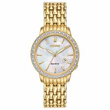 Citizen Eco-Drive Women's Diamond Accents Gold-Tone 29mm Watch Ew2282-52D