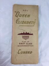 Cunard Queen Elizabeth Plan of First Class Accommodation 1955 Brochure Pamphlet