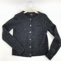 PAUW Amsterdam Black Cashmere Wool Cardigan Size 2 Black White Marled Speckles
