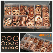 400Pcs Universal Flat Washers Solid Copper Ring Oil Seal Gaskets Assortment Set