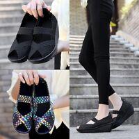 Women Closed Open Toe  Elastic Fabric Weave Slip On Wedge Walking Sandals shoes