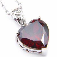 Natural Charm Heart Fire Red Garnet Gemstone Pendant Platinum Plated Necklace