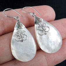 Teardrop Shape MOTHER OF PEARL 925 Sterling Silver Earrings Jewellery