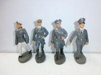 Konvolut 4 alte Elastolin Massesoldaten Flak Luftwaffe Offiziere zu 7.5cm