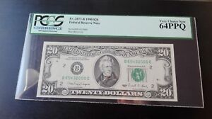 1990 $20 Federal Note FRN Super Lucky Fancy Ladder Serial 65432000 PCGS 64 PPQ
