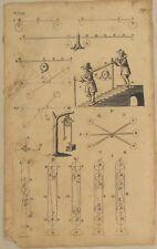 GEWICHT heben Original Kupferstich um 1690 Flaschenzug KRAFT Physik Architektur