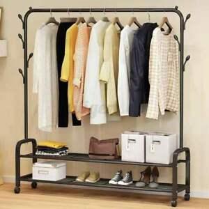 Portant Penderie à Vêtement Mobile Avec Roulettes Crochets Pour Chambre Entrée