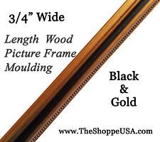 """19' 3/4"""" Wide Black & Gold Leaf Wood Picture Frame Moulding"""