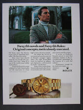 1988 Rolex Day-Date Gold Watch author Frederick Forsyth photo vintage print Ad