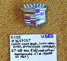 1967-68 Cadillac Hood Crest  Emblem- Very Nice!
