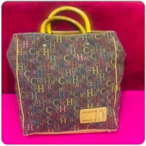 Carolina Herrera Ch Lona Shopper Bolso Multicolor Canvas with wooden Handel Rare