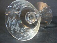 """VTG CRYSTAL HAND CUT CHAMPAGNE/SHERBET GLASS/S LEAF/FLORAL DESIGN 4"""" RARE, MINT!"""