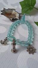Glas Perlen Armband mit Anker Leuchtturm Steuerrad Charms Silber Maritim Meer