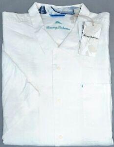 Tommy Bahama Short Sleeve White 100% Linen Shirt Mens Sea Glass Camp NEW $110