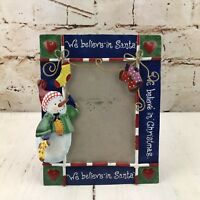 Christmas Picture Photo Frame Snowman Tin Metal We Believe in Santa Holiday Deco