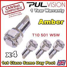 4 x ERROR FREE CANBUS 5 SMD CAR LED W5W T10 501 SIDE LIGHT BULBS - AMBER