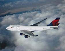 DELTA 747 NEW LOGO - IN FLIGHT - COLOR PHOTO  8 x 10