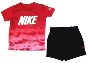 Nike Toddler  Boys 2 Pc T-Shirt & Shorts Set NWT Sizer 2T   Red  & Black