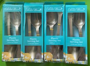NEW SET OF 4 PIONEER WOMAN SERVING UTENSILS SETS PLASTIC PARTY SPOONS FORKS