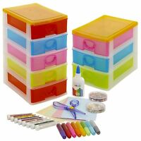 Arts & Crafts Tower Case With Accesories Set Toy Drawers Unit Storage Organiser